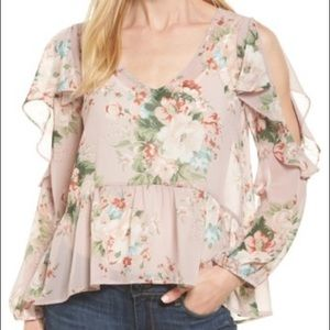 Halogen Ruffles Cold Shoulder Blouse